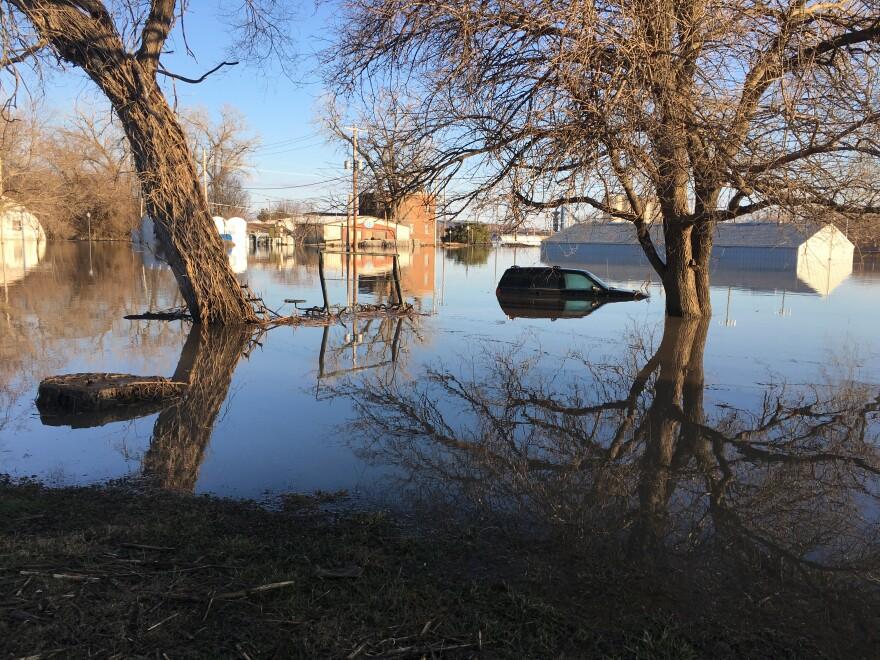The Missouri River flooded Hamburg, Iowa in spring 2019.