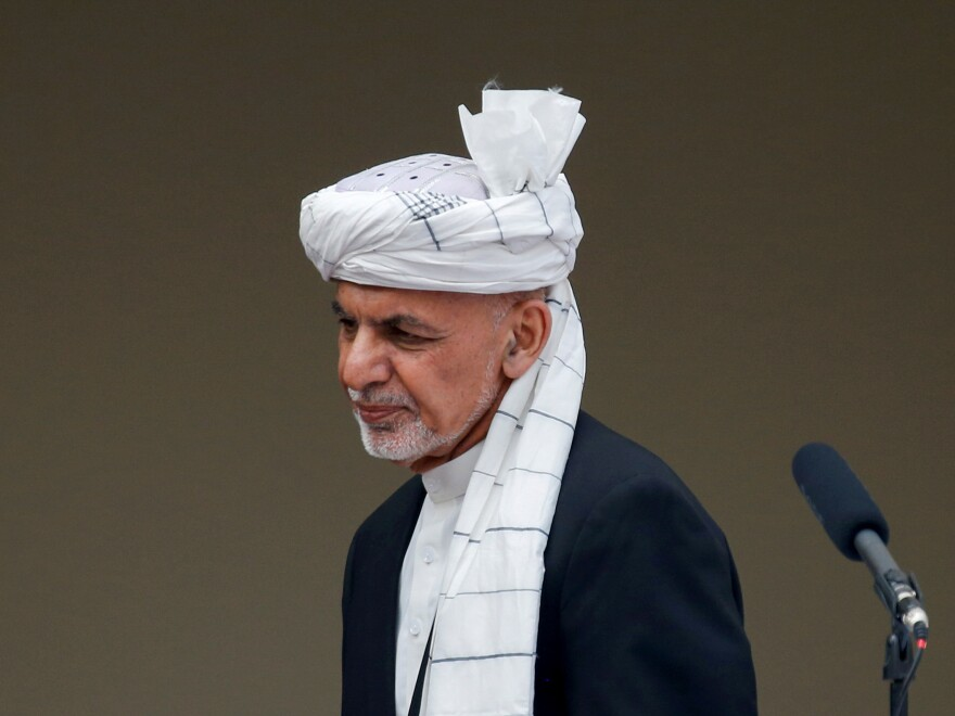 Afghanistan's President Ashraf Ghani, seen on Monday, has agreed to release 5,000 Taliban prisoners before peace talks begin.