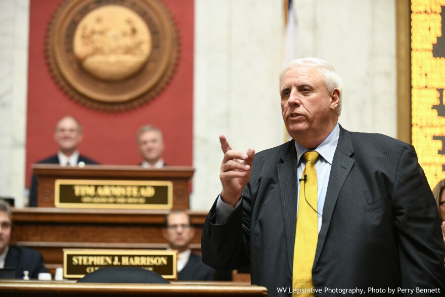 Gov. Jim Justice giving his 2018 State of the State address.