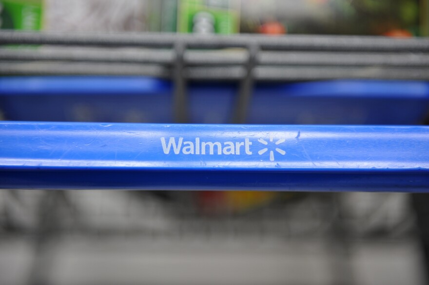 A shopping cart at a Wal-Mart store in Los Angeles.