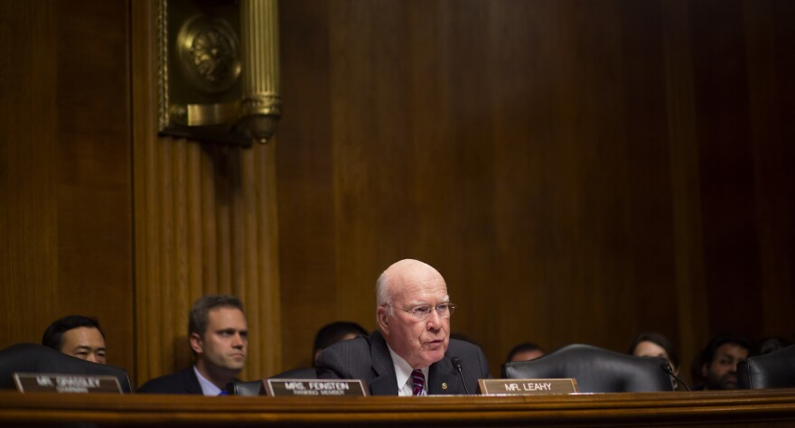 """Senate Judiciary Committee member Patrick Leahy, D-Vt., questions FBI Director James Comey during an oversight hearing on May 3. Leahy said on Tuesday that Comey's firing was """"nothing less than Nixonian."""""""