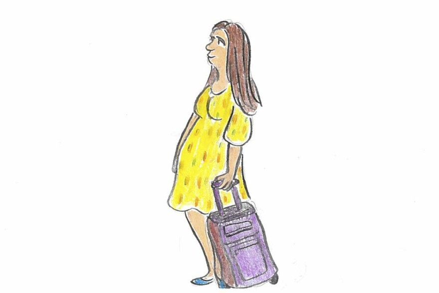 A pregnant American woman boards a plane.