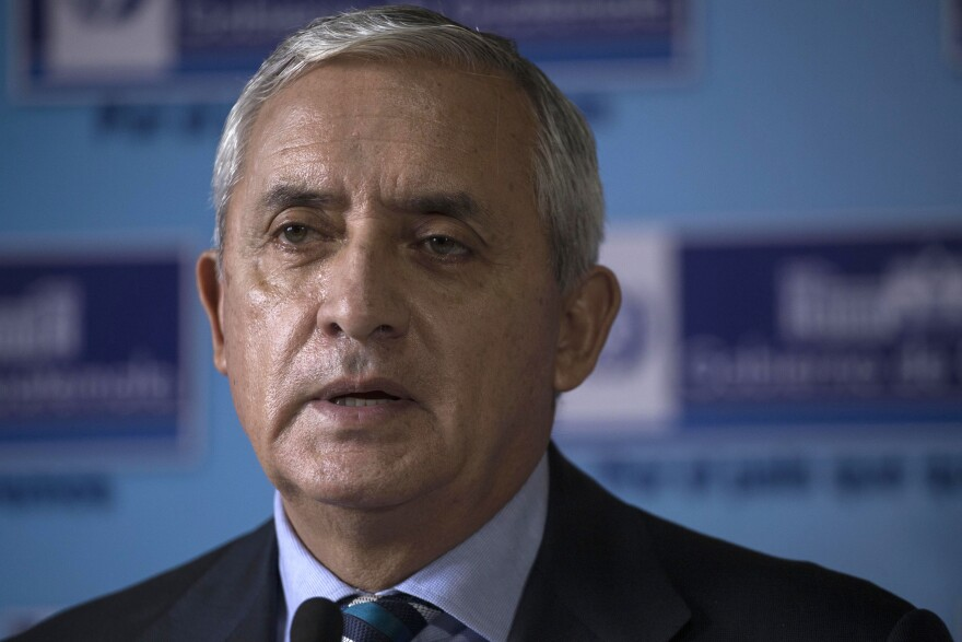 Guatemala's former President Otto Pérez Molina gives a press conference at the Interior Ministry in Guatemala City.