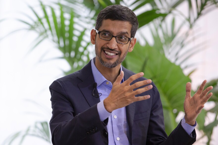 Google's chief executive Sundar Pichai addresses the audience during an event on artificial intelligence in June 2020.