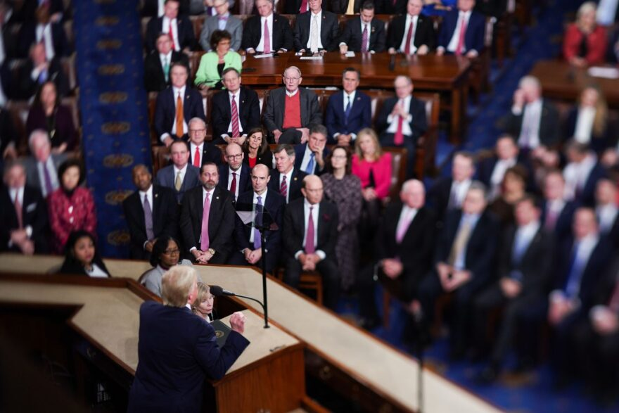 US President Donald Trump delivers the State of the Union address at the US Capitol in Washington, DC.