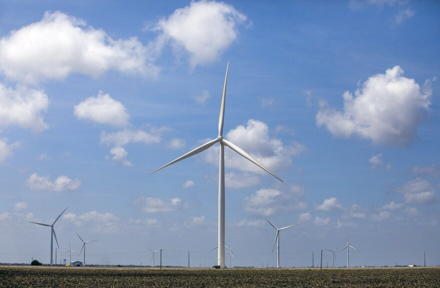 A wind farm on the Texas Gulf Coast