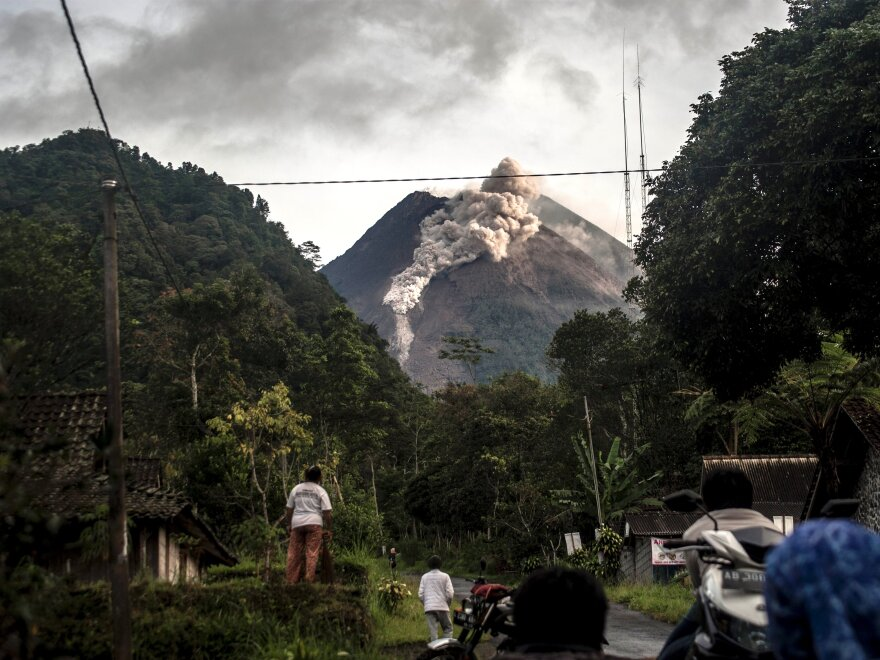 The 9,737-foot Mount Merapi volcano sits on the densely populated island of Java. No residents were evacuated Wednesday morning, but officials are closely monitoring the volcano's activity.