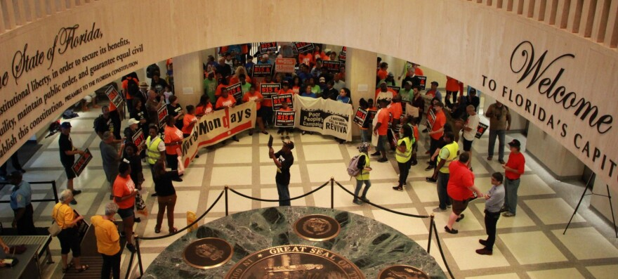 Advocacy group The Poor People's Campaign joined with Florida's Fight for $15 during a rally at the Capitol June 11, 2018 to call for a higher minimum wage.
