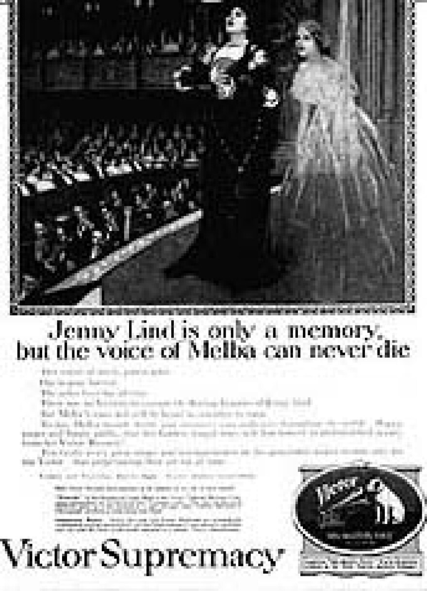 Jenny Lind and Melba advertisement for Edison's competitor, Victor Records.