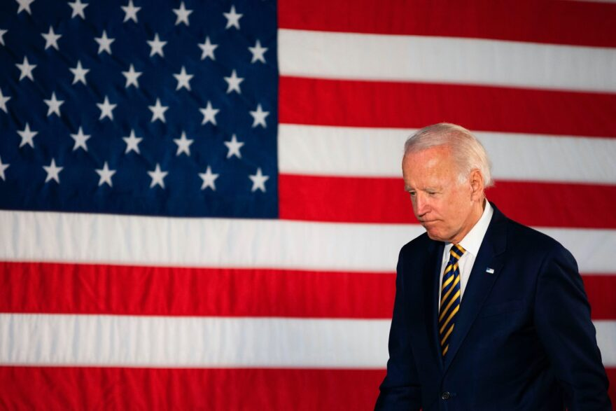 Democratic presidential candidate Joe Biden departs after speaking about reopening the country during a speech in Darby, Pennsylvania.