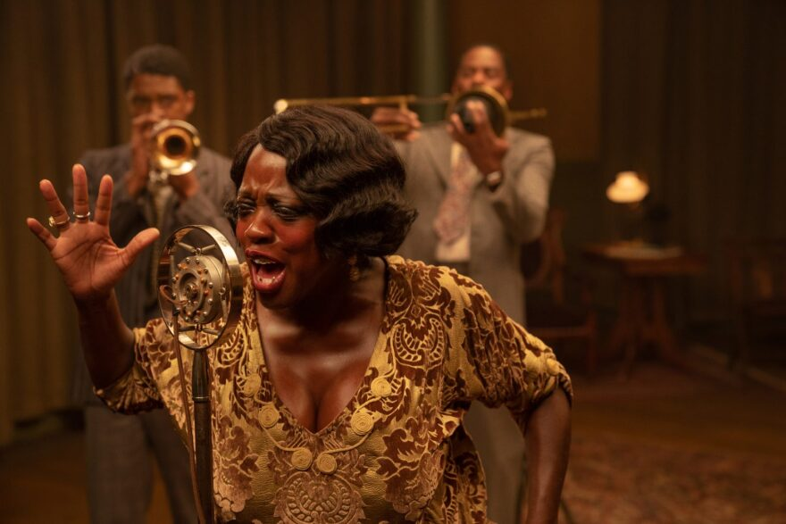 In Netflix's 'Ma Rainey's  Black Botton,'  Chadwick Boseman stars as Levee, Viola Davis as Ma Rainey and Colman Domingo as Cutler.