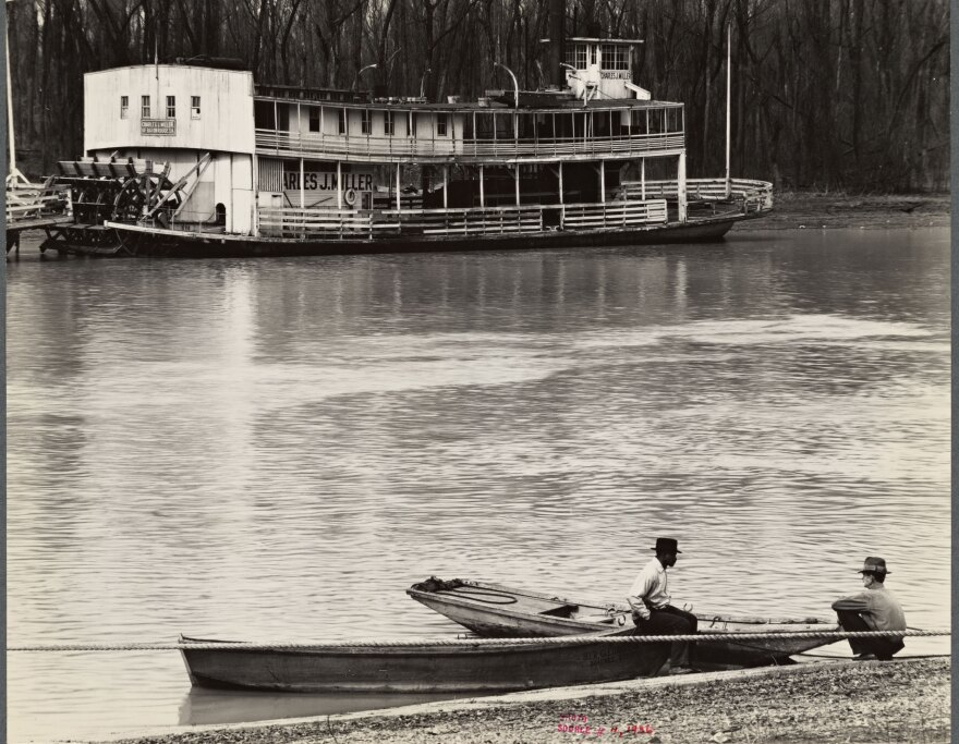 """""""Ferry and river men. Vicksburg, Mississippi,"""" a 1936 photo by Walker Evans, is one of many images in the NYPL's collection from the Farm Security Administration's Depression-era photography projects."""