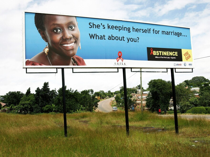 A billboard asks Ugandans to abstain from sex until marriage. The photo was taken in 2005 in Kampala.