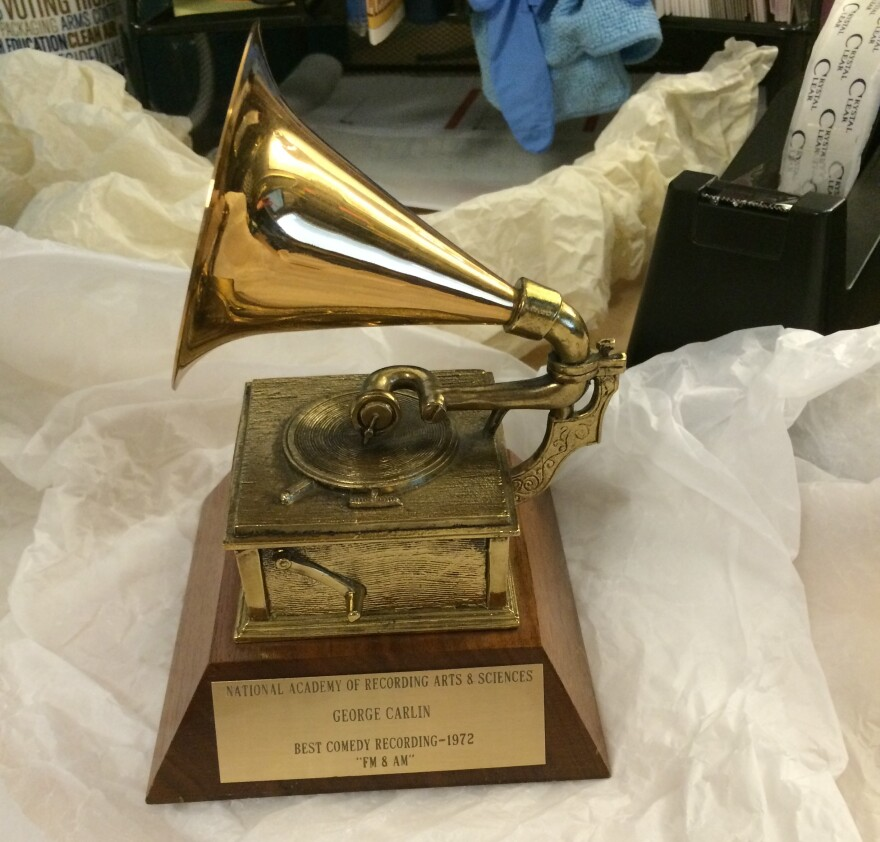 This award for Best Comedy Recording from the National Academy of Recording Arts & Sciences in 1972 is among the items in George Carlin's archives.