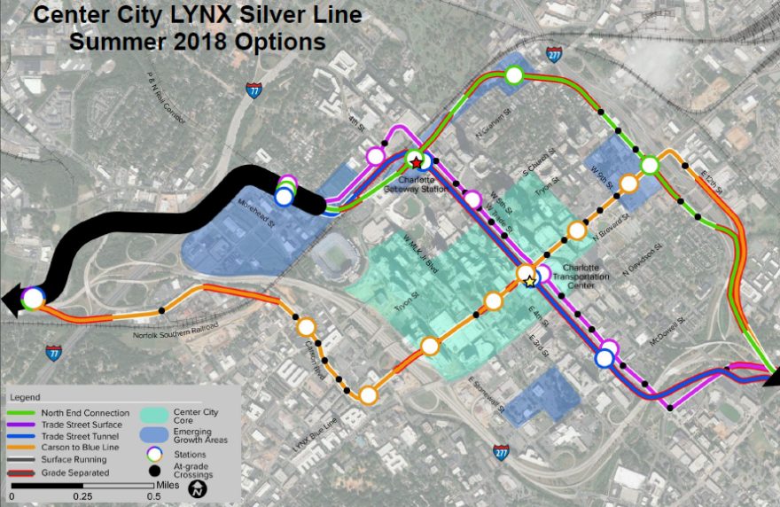 The Charlotte Area Transit System debated whether to build a tunnel through uptown (the purple line) or to have the Silver Line skirt the edge of uptown (green line).