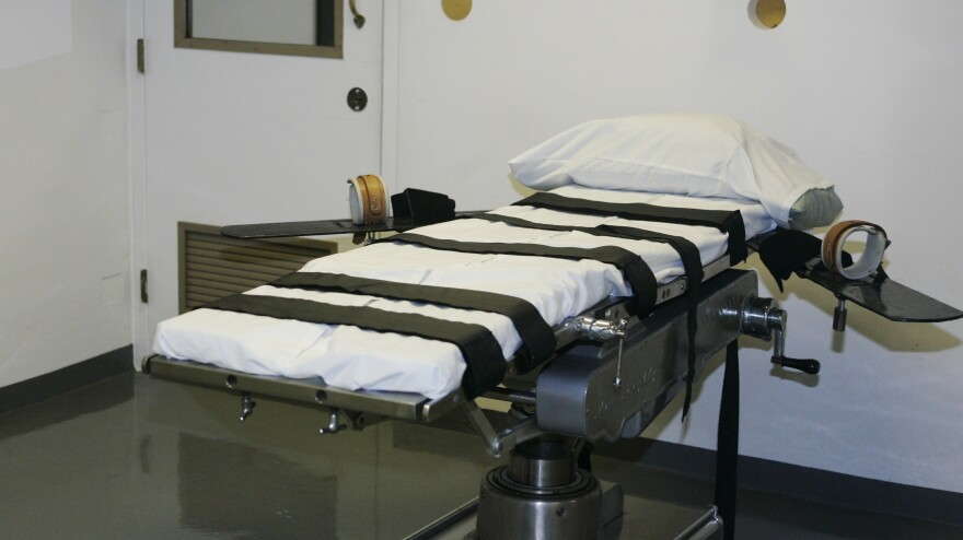 The gurney in the execution chamber at the Oklahoma State Penitentiary is pictured in McAlester, Okla., in 2008.