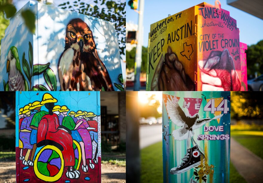"""""""Mini murals"""" painted on traffic signal cabinets"""