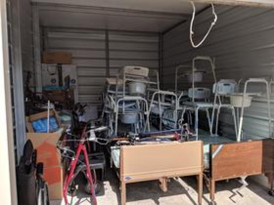 Equipment for those with disabilities fills a Tallahassee storage unit prior to its shipment to storm-impacted areas.