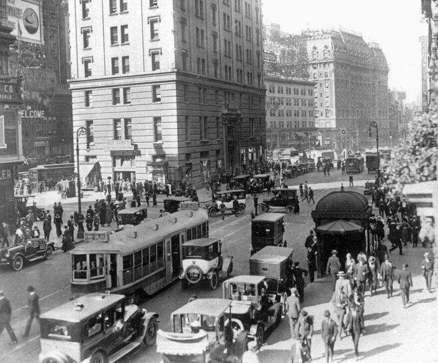 Times Square area near 42nd Street in New York City.  This photo is circa 1920s.  (AP Photo)
