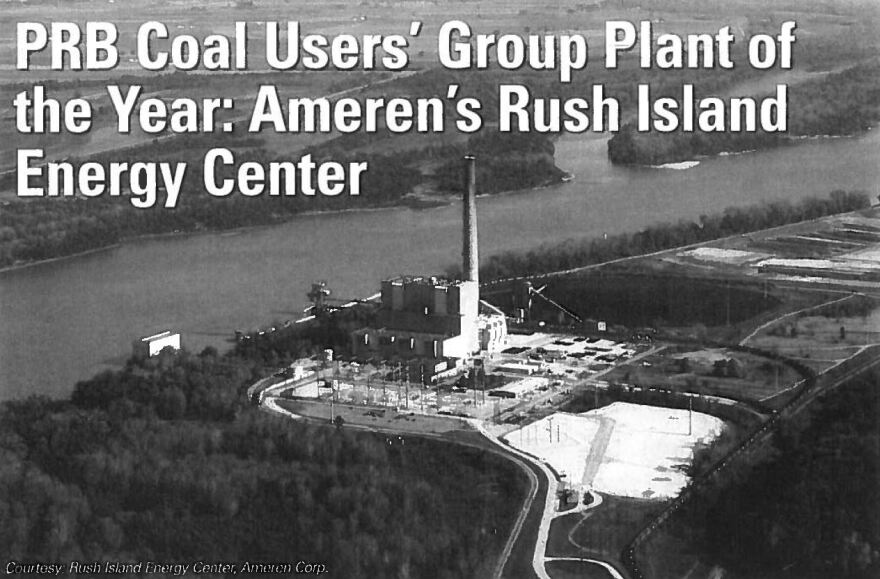 An image of the Rush Island Power Plant in an article about its use of the Powder River Basin coal.