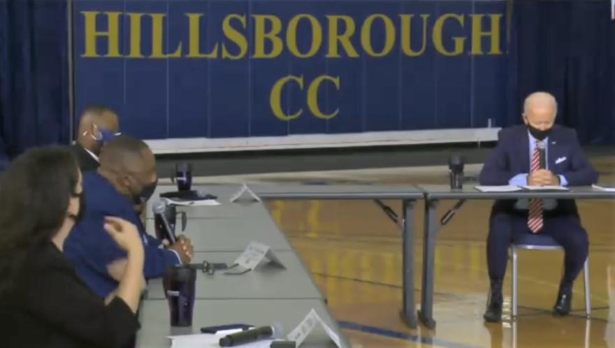 Joe Biden talks with veterans at Hillsborough Community College