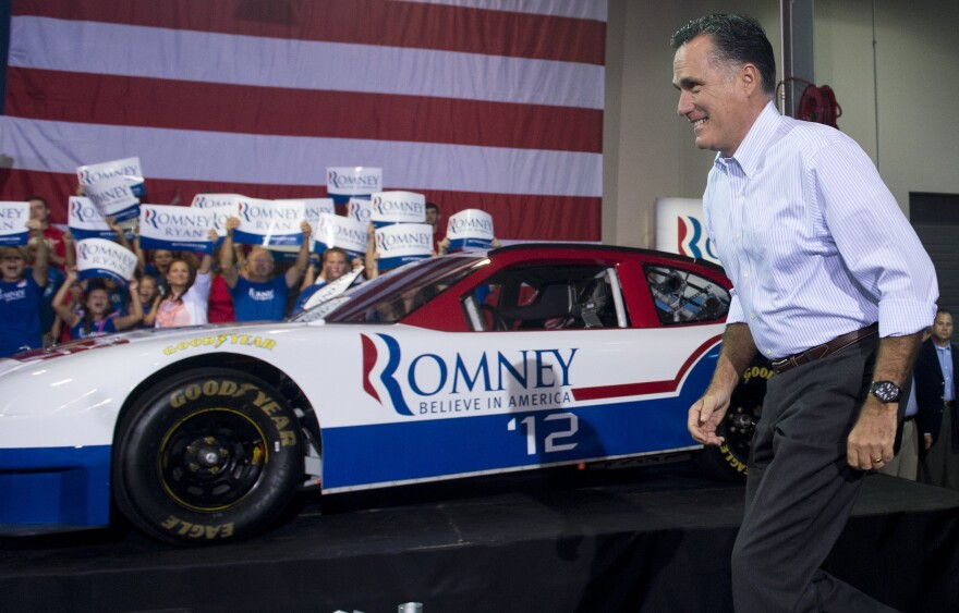 Republican presidential nominee Mitt Romney at the NASCAR Technical Institute in Mooresville, N.C, on Aug. 12.