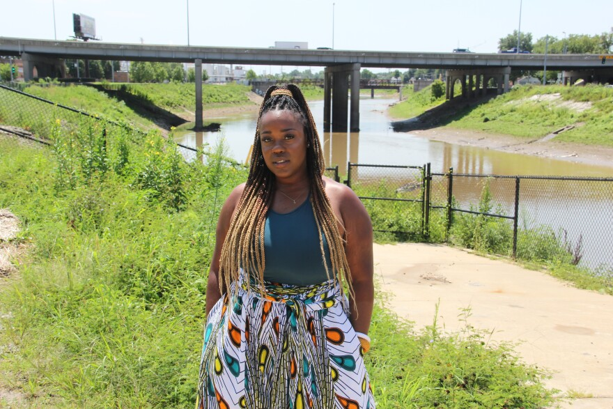 Leah Clyburn, an organizer for the Sierra Club's Beyond Coal campaign, near the River Des Peres on August 9, 2020.