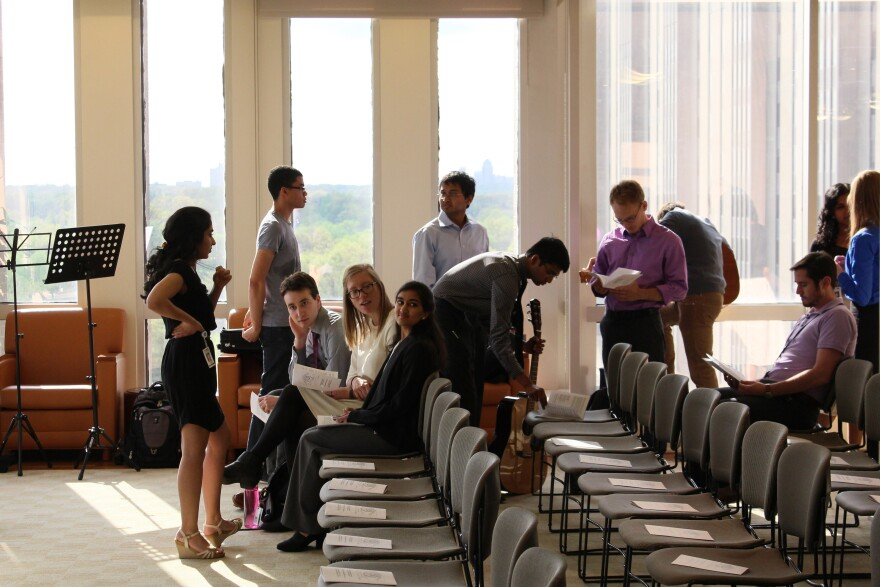 Students gather in the King room of Becker Medical Library prior to their appreciation ceremony.