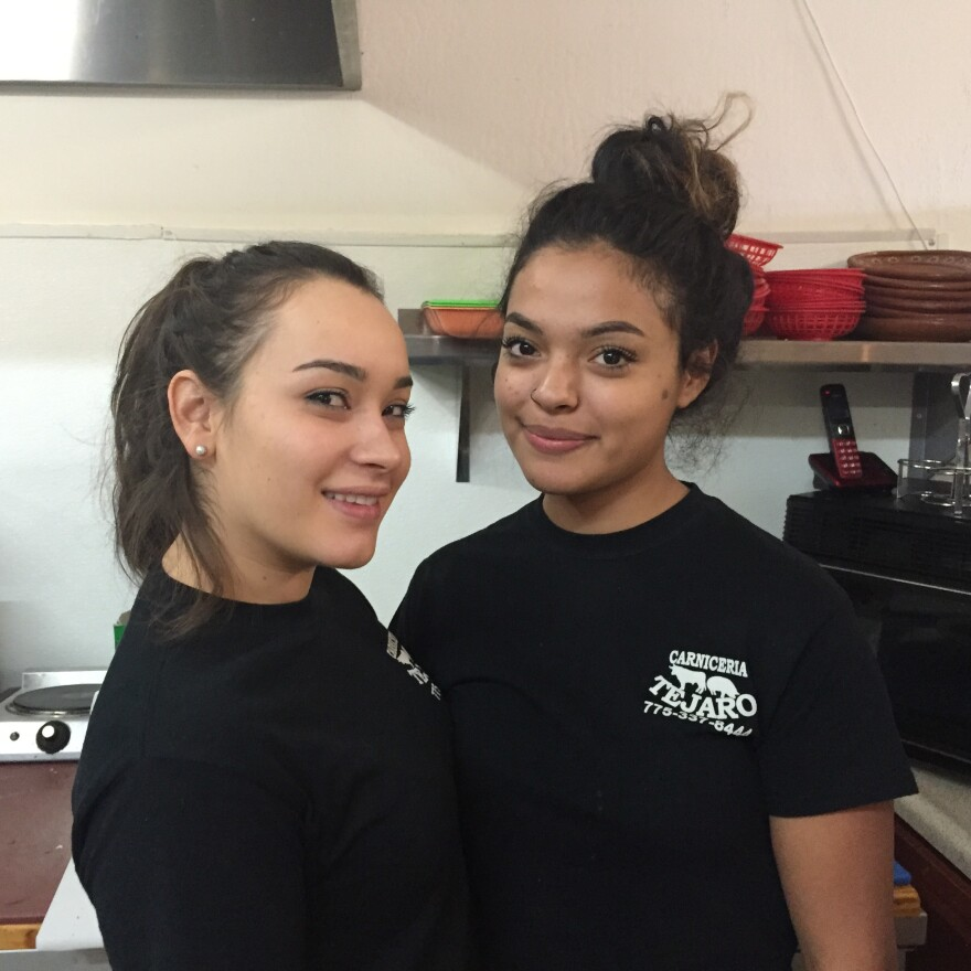 Grecia Mora Chavez (left) and Daniela Arrella Chavez at their family's restaurant and grocery in Reno.