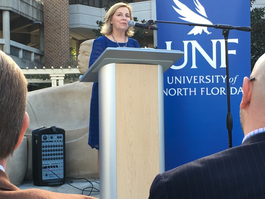 Pamela Chally, Dean of the Brooks College of Health at the University of North Florida, announces the endowment for a new graduate degree program for psychiatric nurse practitioners.