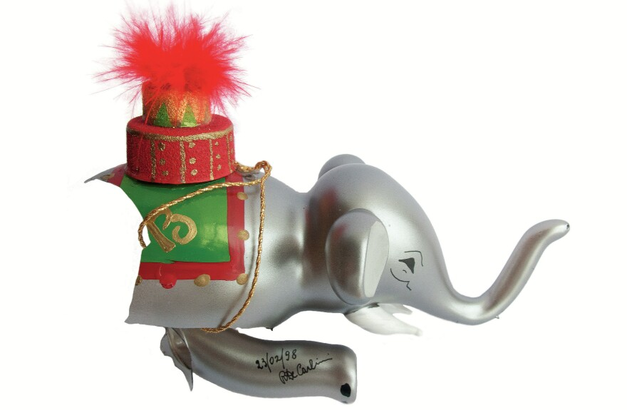 "This elephant ornament from India was broken during the photoshoot for the <em>Tree of Treasures </em>book. ""I started sobbing,"" Mackay says."