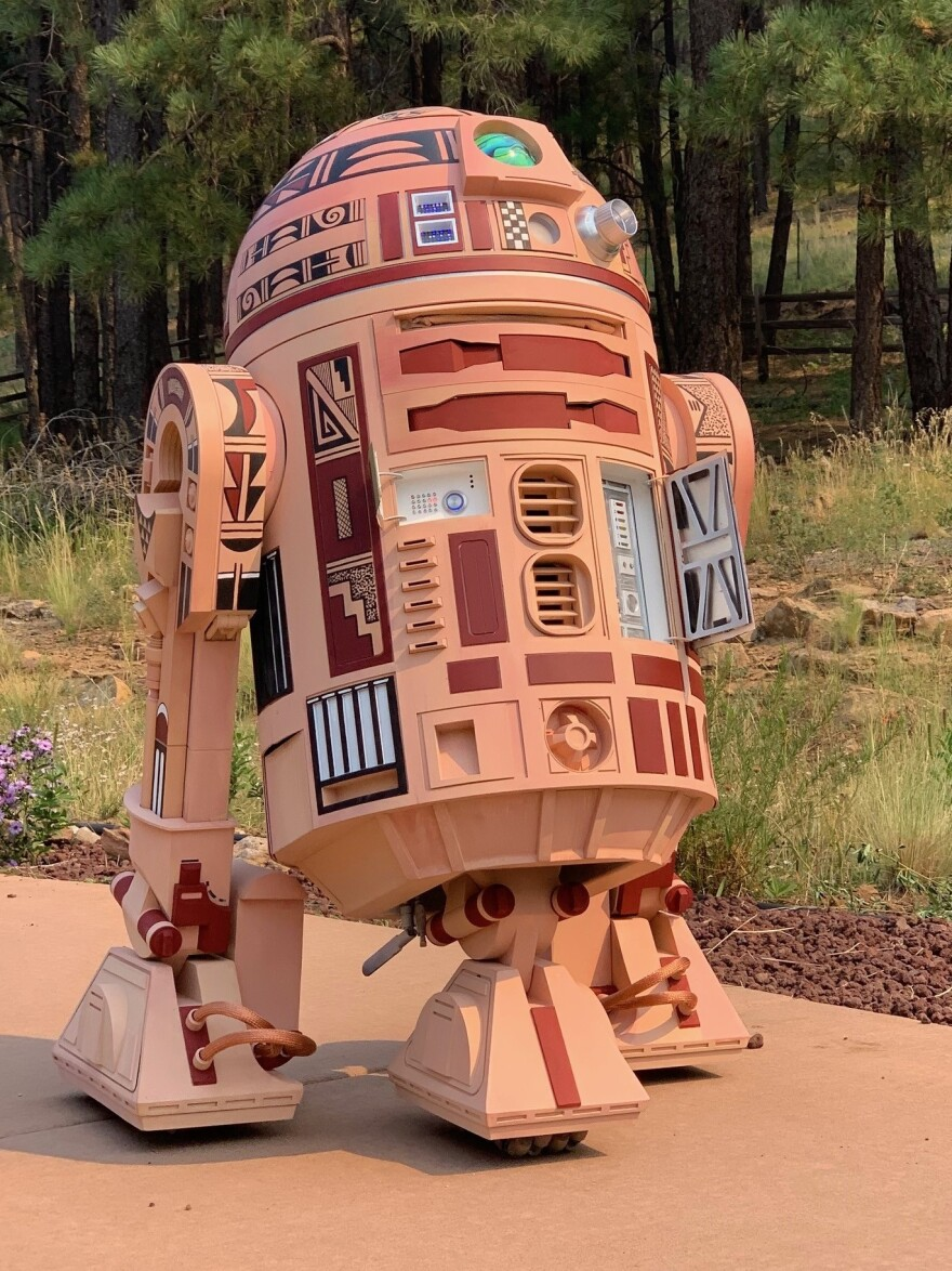 """Hopi R2"" was painted by Hopi-Tewa artist Duane Koyawena and built by engineer Joe Mastroianni."