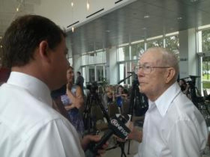 Joseph Varnadoe speaks to a reporter at a 2013 news conference where relatives of Dozier students gave USF researchers DNA samples to assist in identification of remains.
