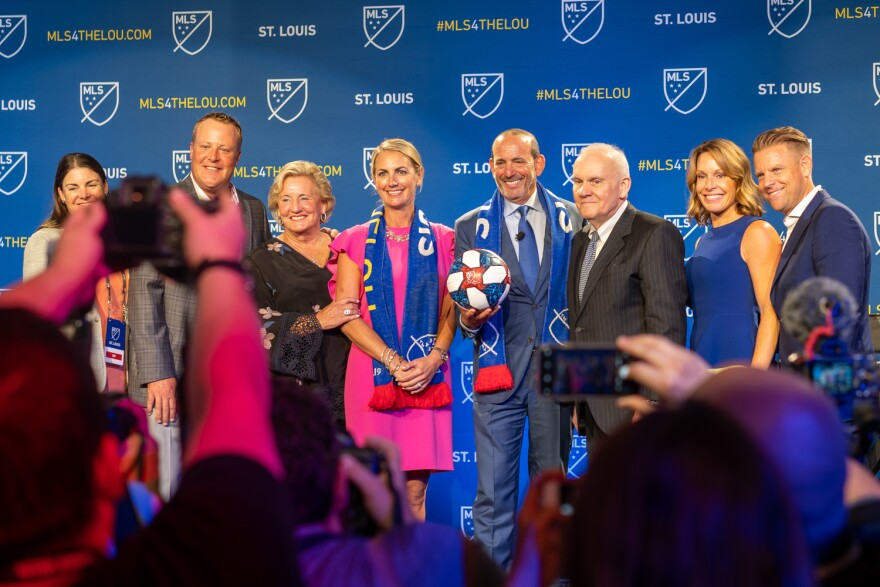 Members of the Taylor family join MLS Commissioner Don Garber on stage during the press conference announcing St. Louis being selected to host an expansion team. Aug 20, 2019