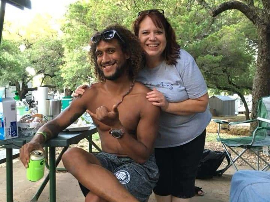 This June 2019 photo provided by Natacha Mendenhall shows Casey Williamson, left, and his mother Carla Ajaga in Possum Kingdom Lake, Texas. Mendenhall said her cousin Williamson, who worked at Oahu Parachute Center, was on board the skydiving plane that killed multiple people when it crashed Friday evening.