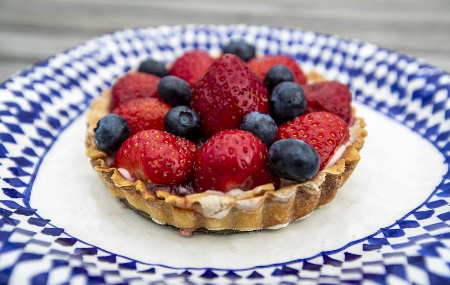 Kathy's strawberry-blueberry tart. (Jesse Costa/WBUR)
