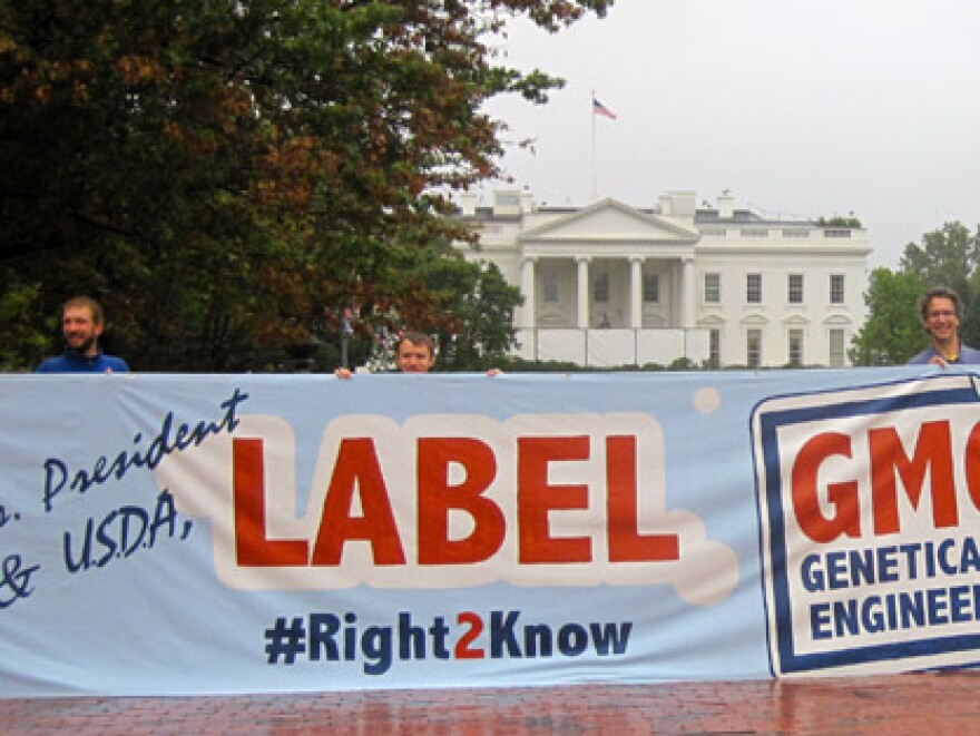 Members of the Right2Know campaign rally in front of the White House