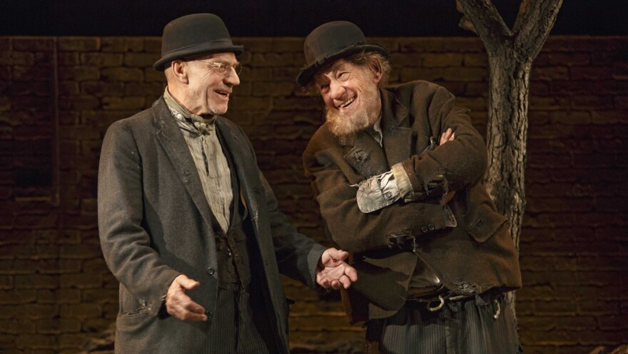 Patrick Stewart and Ian McKellen play Vladimir and Estragon in <em>Waiting for Godot</em><em>, </em>one of two 20th-century classics they're doing in repertory this season on Broadway.
