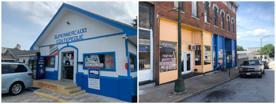 Left: The Supermercado Coatepeque in downtown Carthage, MO. Right: Dozens of stores and restaurants catering to the Latinx community line a half-mile stretch of Main Street between the courthouse square and the Butterball plant, a major employer.