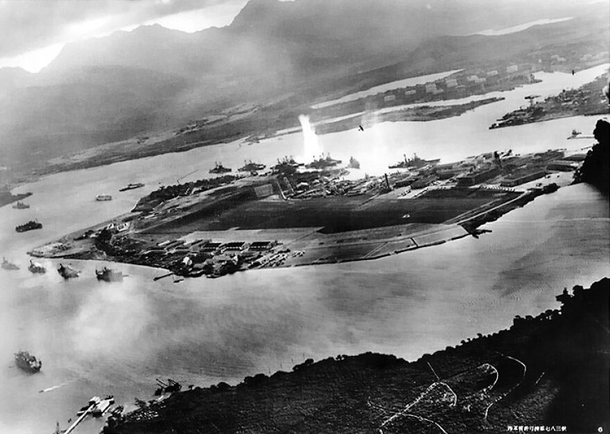 Photograph taken from a Japanese plane during the torpedo attack