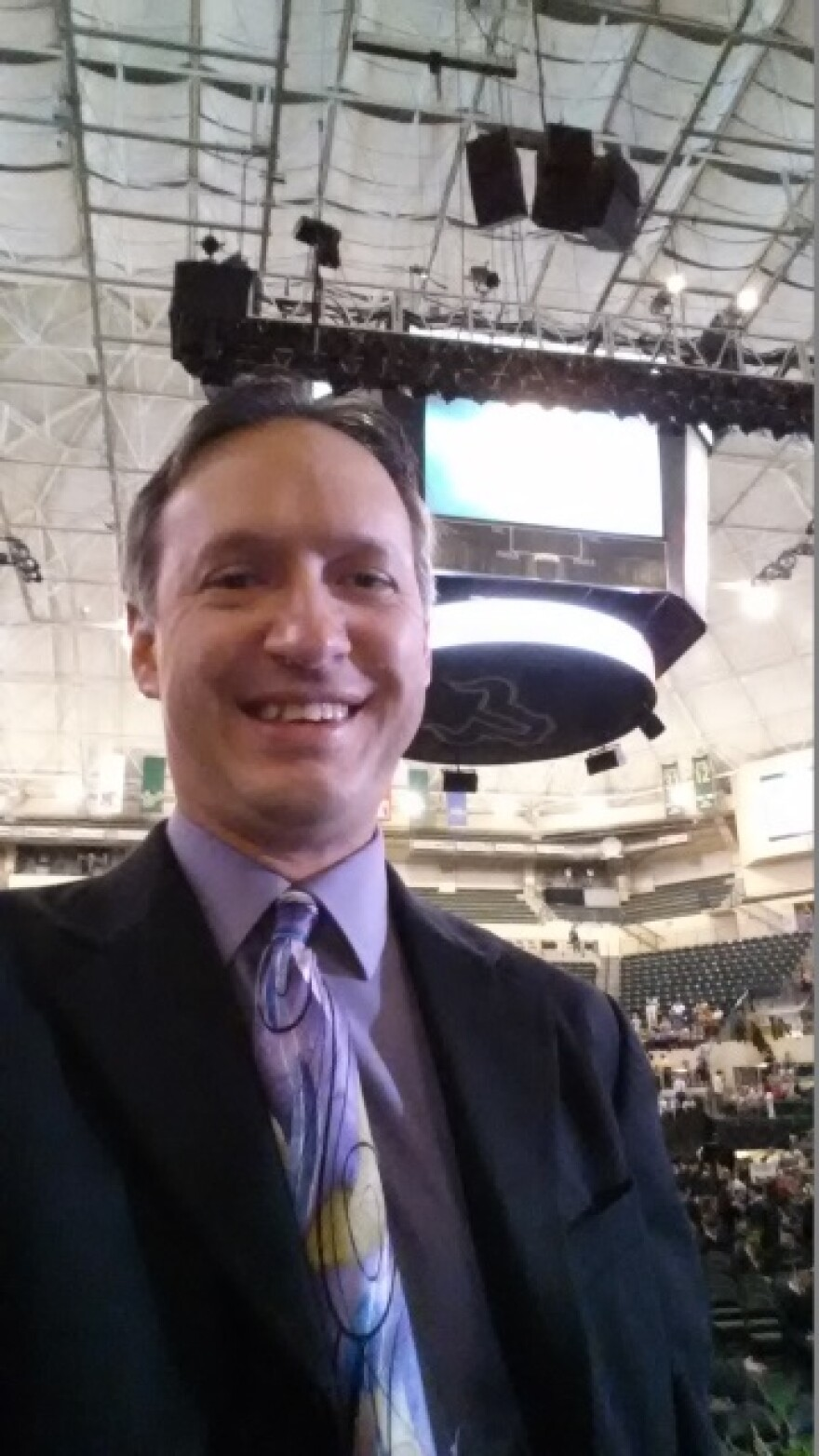 My one mandatory selfie before announcing graduates' names at the 9 a.m. May 3 commencement. Students taking selfies did not end up being an issue.