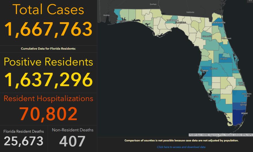 screenshot of state health department coronavirus dashboard