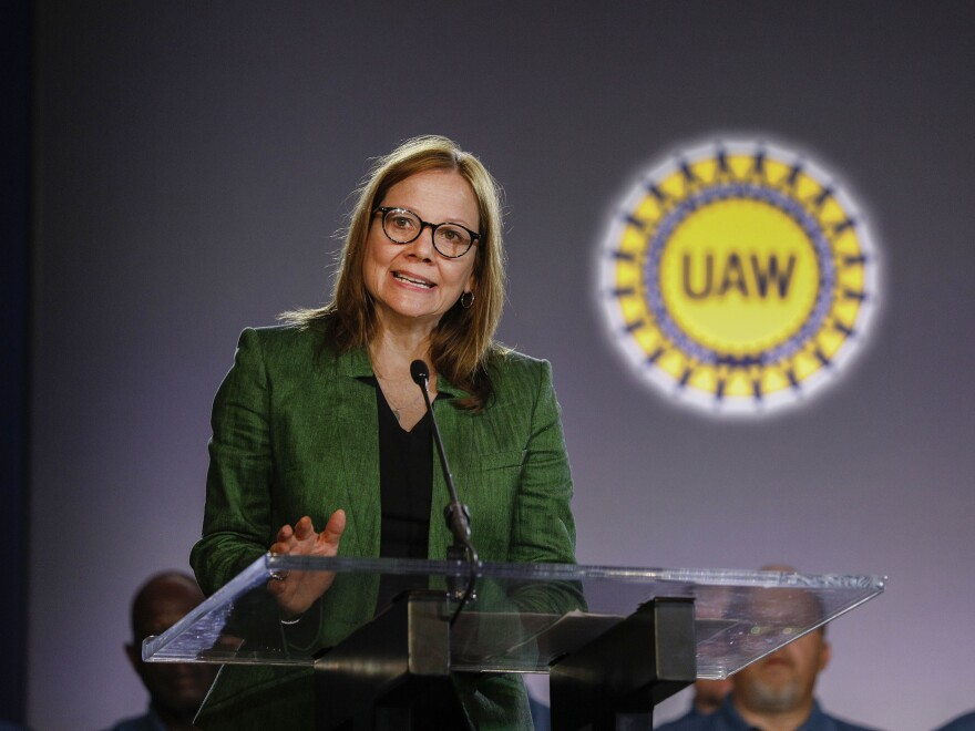 General Motors Chairman and CEO Mary Barra speaks in Detroit, Mich., 2019. GM has joined the Science Based Targets initiative to better reduce its  carbon footprint.