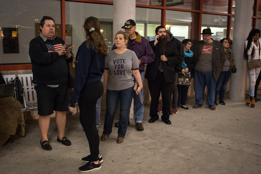 People lined up to vote early at a Houston polling place in October 2018.