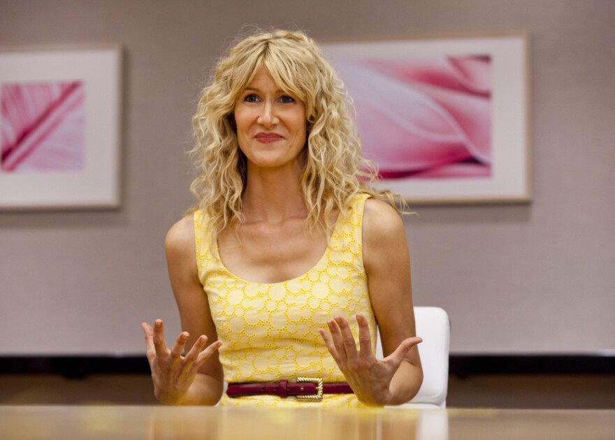 Laura Dern is Amy Jellicoe, a health and beauty executive who returns from a post-meltdown retreat to pick up the pieces of her broken life in the HBO series <em>Enlightened.</em>