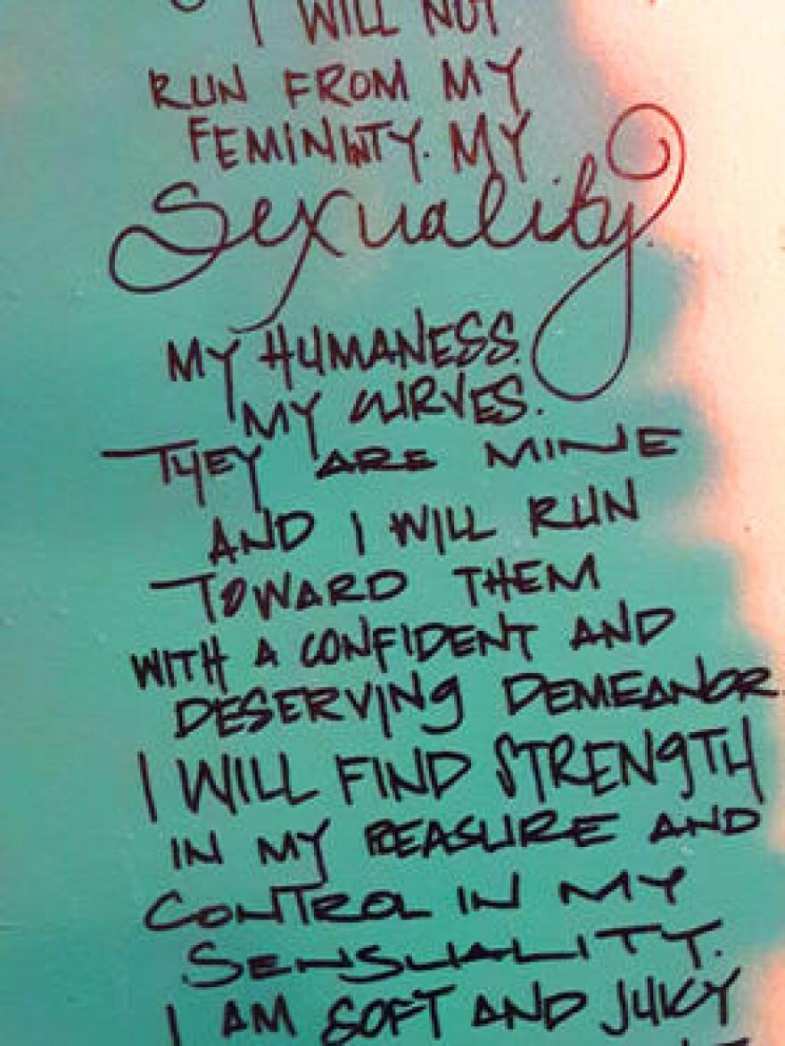 """A poem written on the wall of """"the art room"""" at Lunchbox Miami."""