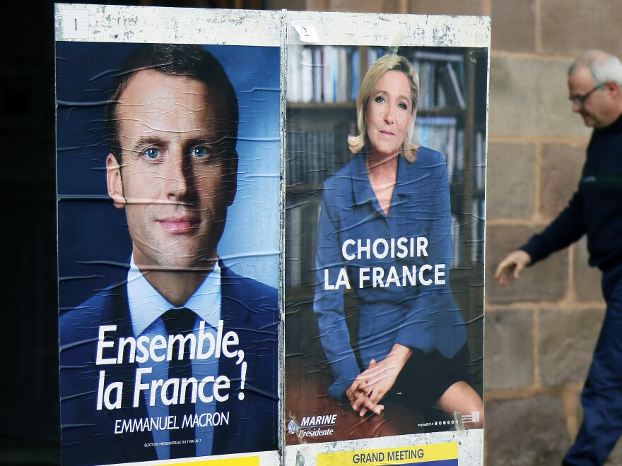 Centrist candidate Emmanuel Macron's campaign is pointing fingers at Russia in the 11th-hour hacking. Macron will face off with far-right candidate Marine Le Pen Sunday in the second round of the French presidential election, which is being closely watched around the world.