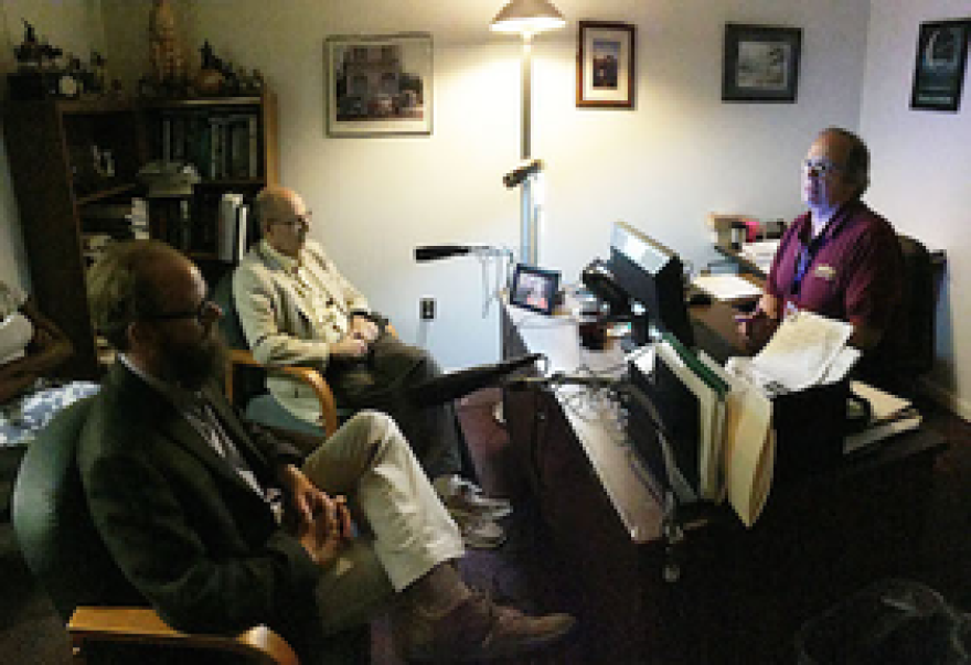 (l. to r.) Walter Boot and Neil Charness discuss their research during their visit to WFSU.