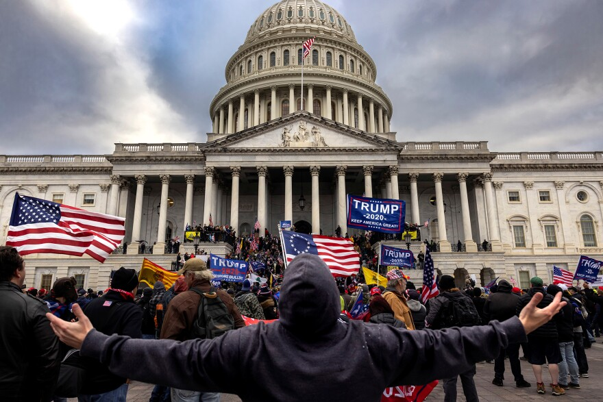 Pro-Trump protesters gather in front of the U.S. Capitol Building on Jan. 6, 2021 in Washington, D.C. They gathered to protest the ratification of President-elect Joe Biden's Electoral College victory over President Trump in the 2020 election. A pro-Trump mob later stormed the Capitol, breaking windows and clashing with police officers. Five people died as a result.