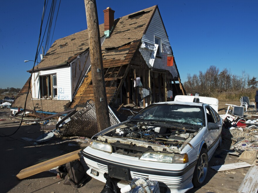Floodwaters from Superstorm Sandy destroyed the first floor of this house in Staten Island, New York. Most of the people who drowned during the storm died in their homes in low-lying areas of New York and New Jersey.